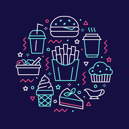 Fast food circle illustration with flat line icons. Thin vector signs for restaurant menu poster - burger, french fries, soda, salad, cheesecake, coffee, ice cream. Junk food concept.
