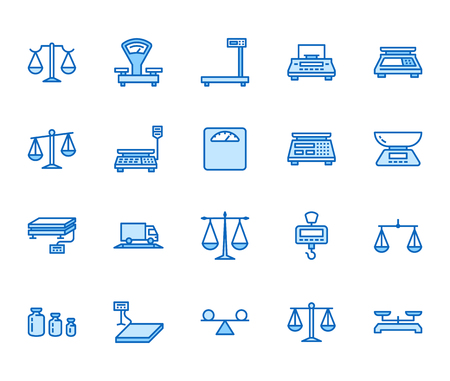 Balance flat line icons set. Weight measurement tools, diet scales, trade, electronic, industrial scale calibration vector illustrations. Thin sign justice concept. Pixel perfect 64x64 Editable Stroke Illustration
