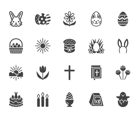 Easter flat glyph icons set. Colored eggs, basket, egg hunt, rabbit, spring flowers, bible, cake vector illustrations. Signs christianity celebration. Vettoriali