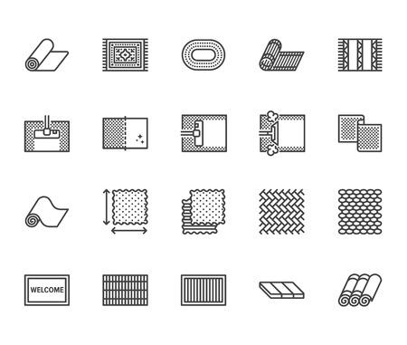 Set di icone di linea piatta per la pulizia della moquette. Tappeto fumante, stuoia di bambù, tappeti di persia, illustrazione vettoriale di pavimentazione. Insegne sottili per il servizio di pulizia, negozio di interni. Pixel perfetto 64x64. Tratti modificabili.