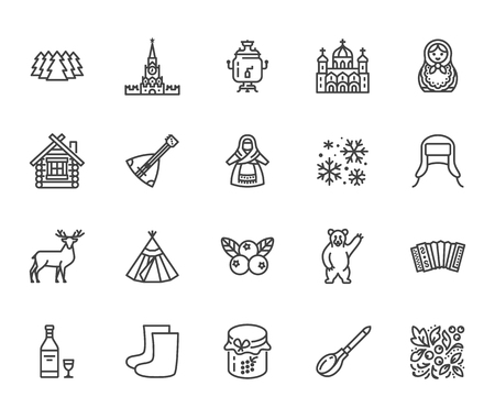 Russia flat line icons set. Russian doll, ornament, Moscow Kremlin, samovar, deer, bear, accordion, vodka vector illustrations. Thin signs for travel agency. Pixel perfect 64x64. Editable Strokes