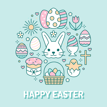 Easter card circle template with flat line icons. Colored eggs, basket, egg hunt, rabbit, spring flowers, cake round vector illustration. Thin signs poster for christianity celebration.