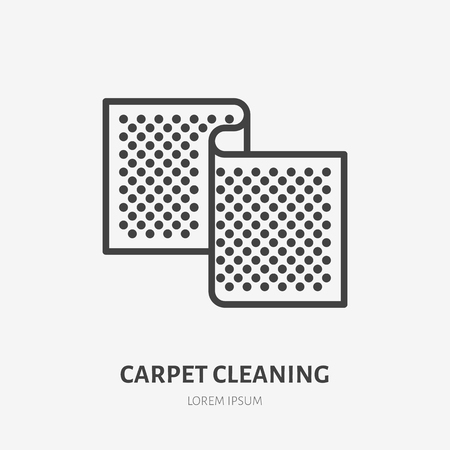 Carpet flat line icon. Vector thin sign of door mat, rug cleaning logo. House textile decoration illustration.