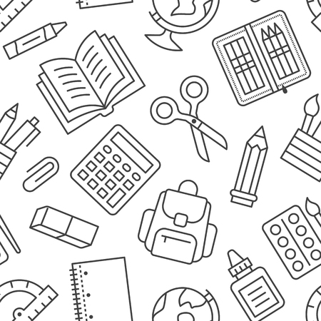 School supplies seamless pattern with line icons. Study tools background - globe, calculator, book, pencil, scissors, notebook vector illustration. Black white wallpaper for stationery sale brochure.