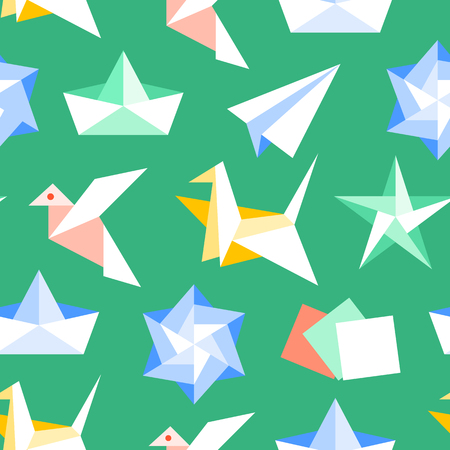 Origami seamless pattern with flat icons. Paper cranes, bird, boat, plane vector illustrations. Colored background green, red, yellow, white color signs for japanese creative hobby.