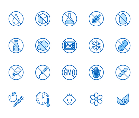 Natural food flat line icons set. Sugar, gluten free, no trans fats, salt, egg, nuts, vegan vector illustrations. Thin signs for packaging, expiration date.