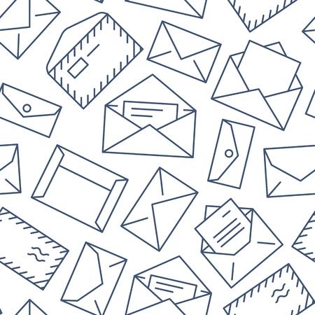 Modello senza cuciture con le icone di linea piatta di buste. Sfondo della posta, messaggio, busta aperta con lettera, illustrazioni vettoriali di posta elettronica. Segni sottili bianchi neri per mailing list, ufficio postale.