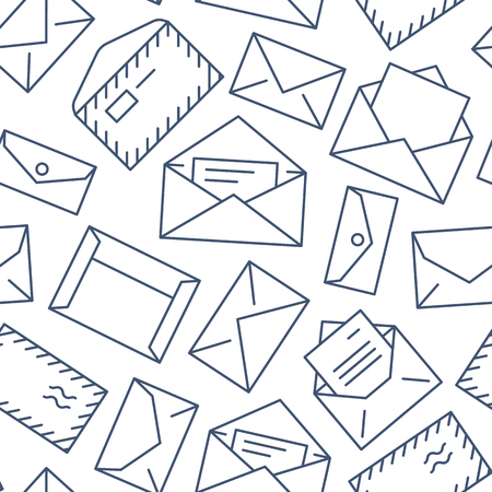 Seamless pattern with envelopes flat line icons. Mail background, message, open envelope with letter, email vector illustrations. Black white thin signs for mailing list, post office.  イラスト・ベクター素材