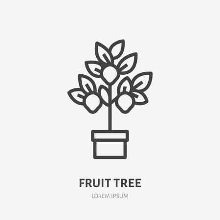Lemon tree flat line icon. Gardening vector thin sign. Illustration of lemon plant in pot.