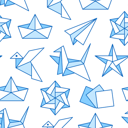 Origami seamless pattern with flat line icons. Paper cranes, bird, boat, plane vector illustrations. Colored background blue, white color thin signs for japanese creative hobby. Иллюстрация