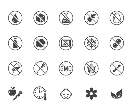 Natural food flat glyph icons set. Sugar, gluten free, no trans fats, salt, egg, nuts, vegan vector illustrations. Signs for packaging, expiration date.