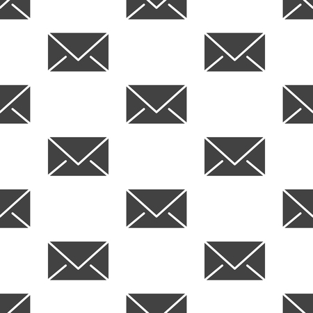 Seamless pattern with envelopes flat glyph icons. Mail background, message, email vector illustrations. Black white signs for mailing list, post office.