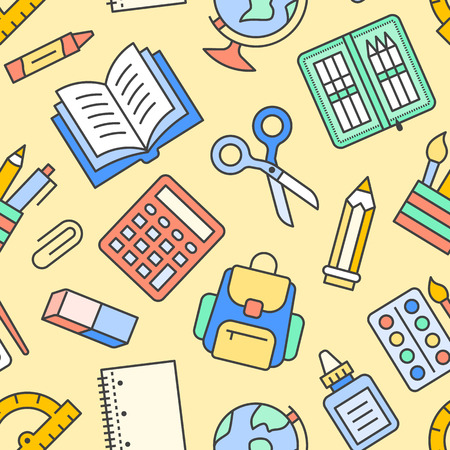 School supplies seamless pattern with line icons. Study tools background - globe, calculator, book, pencil, scissors, notebook vector illustration. Colored wallpaper for stationery sale brochure.
