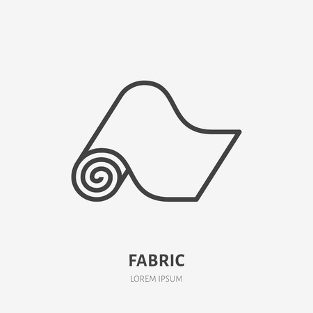 Carpet flat line icon. Vector thin sign of fitness mat, fabric roll logo. House textile decoration illustration.