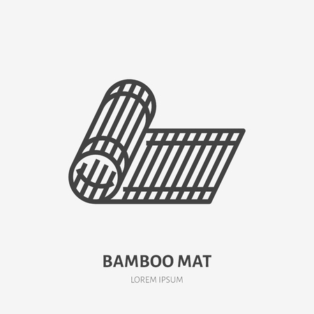Bamboo mat flat line icon. Vector thin sign of tatami. House decoration illustration.