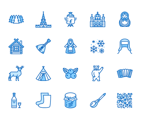 Russia flat line icons set. Russian doll, ornament, Moscow Kremlin, samovar, deer, bear, accordion, vodka vector illustrations. Thin signs for travel agency. Editable Strokes