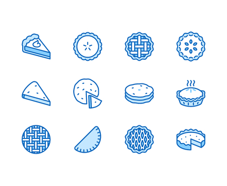 Pie flat line icons set. Ossetian, cherry, apple, pumpkin pies, casserole, pita vector illustrations. Thin signs for bakery.