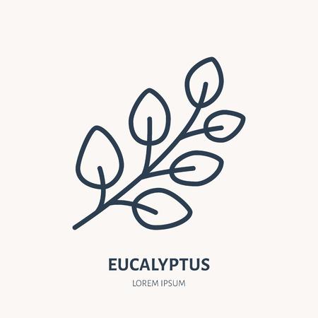 Eucalyptus flat line icon. Medicinal plant gum-tree vector illustration. Thin sign for herbal medicine, essential oil logo. Illustration
