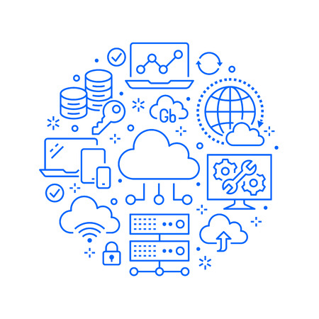 Cloud data storage circle poster with line icons. Database background, information, server center, global network, backup, security vector illustrations. Technology blue white template.  イラスト・ベクター素材