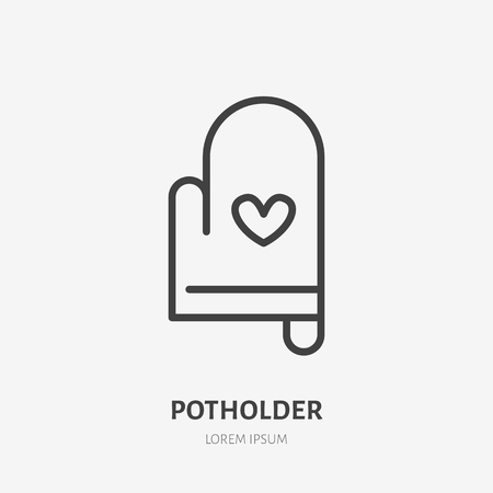 Potholder flat line icon. Oven-glove vector illustration. Thin sign for cooking equipment, home decoration.