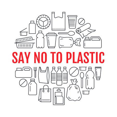 Arrêtez d'utiliser un modèle de cercle en plastique avec des icônes de ligne plate. Illustration vectorielle de sensibilisation à la pollution en polyéthylène pour affiche. Signes minces de déchets plastiques, sac, emballage, bidon, bouteille, récipient alimentaire.