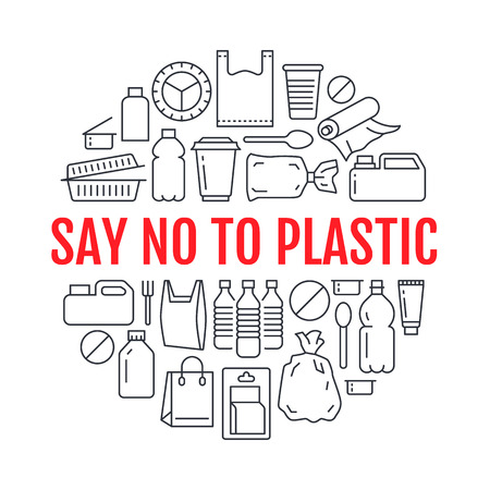 Stop using plastic circle template with flat line icons. Polyethylene pollution awareness vector illustration for poster. Thin signs of plastics waste, bag, package, canister, bottle, food container.