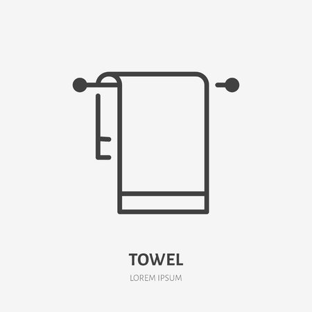Towel flat line icon. Linen vector illustration. Thin sign for home textile decoration. Иллюстрация