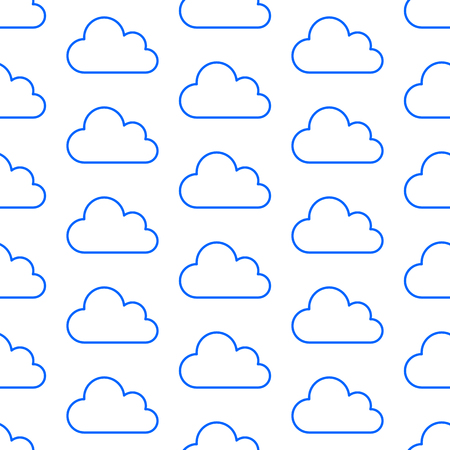 Cloud data storage seamless pattern with line icons. Database background, information server center, sky illustrations. Technology, nature blue white wallpaper. Иллюстрация