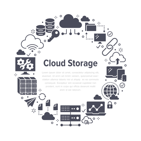 Cloud data storage circle poster with flat glyph icons. Database background, information, server center, global network, backup, security vector silhouette illustration Technology black white template