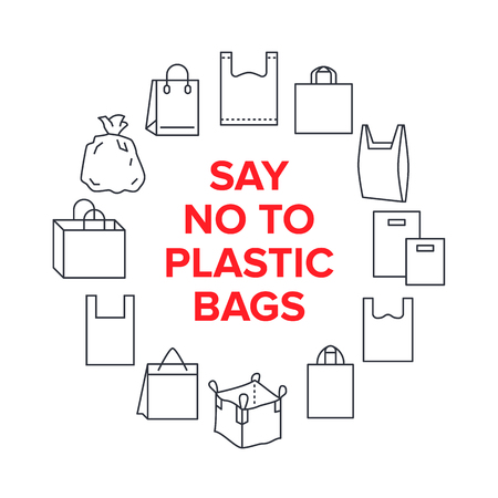 Say no to plastic bags circle template with flat line icons. Polyethylene pollution awareness vector illustration for poster. Thin signs of plastics shopping bag.