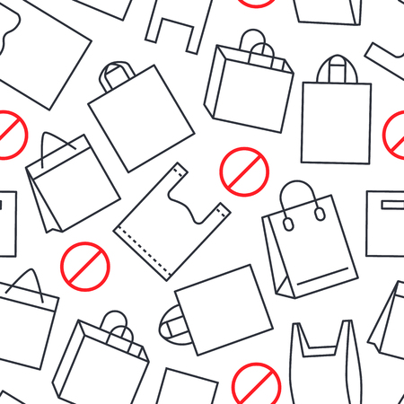 Stop using plastic bags seamless pattern with flat line icons. Polyethylene pollution awareness vector illustration for poster background. Thin signs of plastics shopping package. Иллюстрация