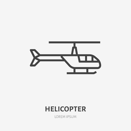 Helicopter flat line icon. Rotorcraft vector illustration. Thin sign for aircraft rental, copter logo. Illustration