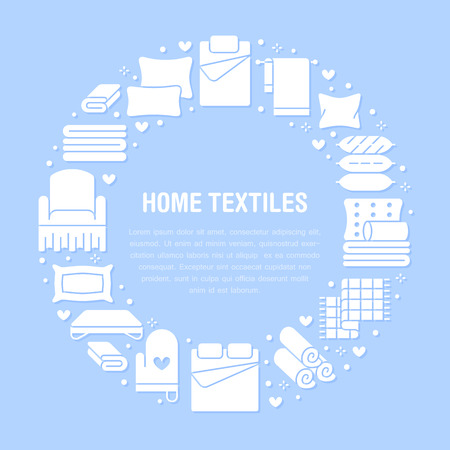 Home textiles circle template with flat glyph icons. Bedding, bedroom linen, pillows, sheets set, blanket and duvet silhouette illustrations. Blue white signs for interior store. Иллюстрация
