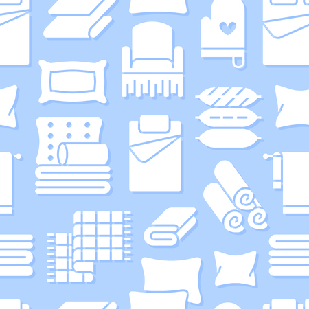 Home textiles seamless pattern with flat glyph icons. Bedding, bedroom linen, pillows, sheets set, blanket and duvet silhouette illustrations. Blue white background for interior store.