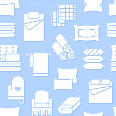 Textiles para el hogar de patrones sin fisuras con iconos de glifos planos. Ilustraciones de silueta de ropa de cama, ropa de dormitorio, almohadas, sábanas, mantas y edredones. Fondo blanco azul para tienda interior.