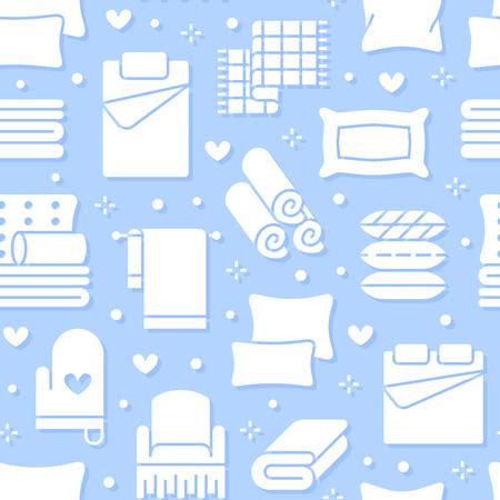Modèle sans couture de textiles de maison avec des icônes de glyphe plat. Literie, linge de chambre, oreillers, ensemble de draps, illustrations de silhouette de couverture et de couette. Fond blanc bleu pour magasin d'intérieur. Vecteurs