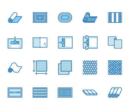 Carpet cleaning flat line icons set. Rug steaming, bamboo mat, persia carpets, flooring vector illustration. Thin signs for housekeeping service, interior store. Pixel perfect 64x64. Editable Strokes. Ilustracje wektorowe