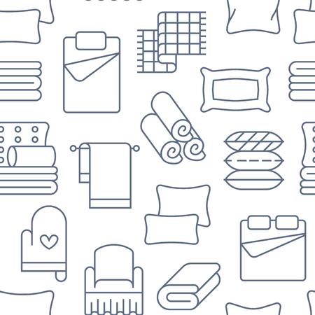 Textiles para el hogar de patrones sin fisuras con los iconos de línea plana. Ropa de cama, ropa de dormitorio, almohadas, juego de sábanas, mantas y edredones finos ilustraciones lineales. Fondo blanco azul para tienda interior. Ilustración de vector