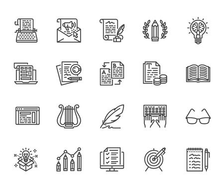 Conjunto de iconos de línea plana de redacción publicitaria. Escritor escribiendo texto, contenido de redes sociales, boletín de correo electrónico, idea creativa, ilustraciones vectoriales de máquina de escribir. Escribiendo letreros delgados. Pixel perfecto. Trazos editables. Ilustración de vector