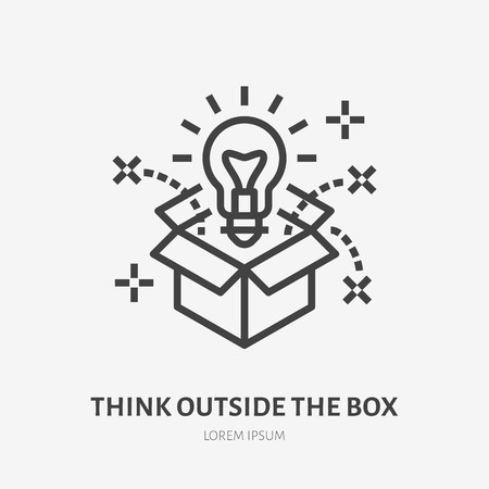 Think outside the box flat line icon. Creative solution vector illustration. Thin sign of innovation, business logo. Çizim