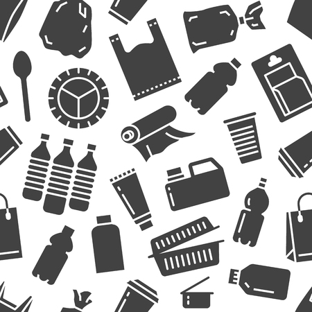 Stop using plastic seamless pattern with flat glyph icons. Polyethylene pollution awareness vector illustration for poster background. Signs of plastics waste, bag, package, canister, bottle.