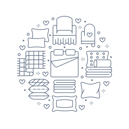 Home textiles circle template with flat line icons. Bedding, bedroom linen, pillows, sheets set, blanket and duvet illustrations. Blue white thin signs for interior store.