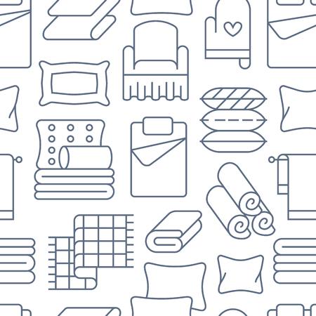 Heimtextilien nahtloses Muster mit flachen Liniensymbolen. Bettwäsche, Bettwäsche, Kissen, Bettwäsche, Decke und Bettdecke dünne lineare Illustrationen. Blauer weißer Hintergrund für Innenspeicher.