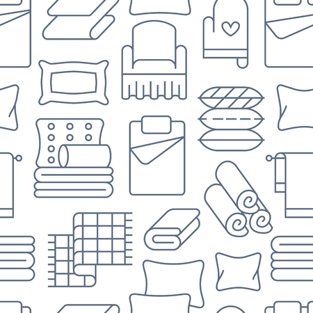 Home textiles seamless pattern with flat line icons. Bedding, bedroom linen, pillows, sheets set, blanket and duvet thin linear illustrations. Blue white background for interior store.