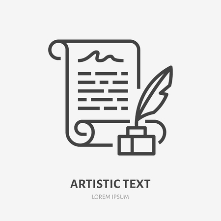 Artistic text flat line icon. Manuscript with quill in inkwell vector illustration. Thin sign for literary readings, writer logo.