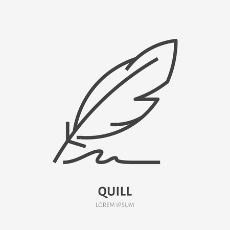 Quill flat line icon. Writing pen vector illustration. Thin sign for literature, writer logo. Logo