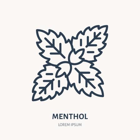 Menthol flache Liniensymbol. Heilpflanze verlässt Vektorillustration. Dünnes Zeichen für Kräutermedizin, Minzlogo.