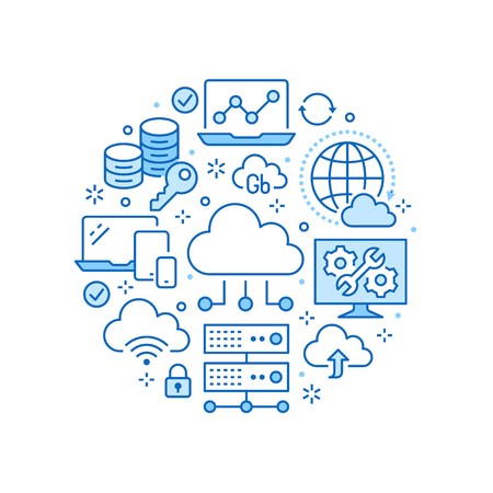Cloud data storage circle poster with line icons. Database background, information, server center, global network, backup, security vector illustrations. Technology blue white template. Illustration