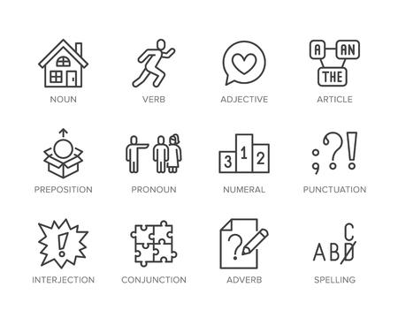 Grammaire, jeu d'icônes de ligne plate de l'éducation. Parties du verbe, préposition, pronom, adjectif, illustrations vectorielles d'interjection. Signes minces pour l'apprentissage de l'anglais. Pixel parfait des traits modifiables.