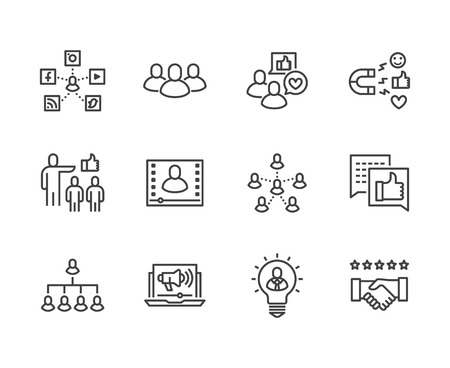 Key Opinion Leader flat line icons set. Influence marketing, social media advertising, business people, blogger vector illustrations. Thin signs for KOL. Pixel perfect 64x64. Editable Strokes. Illustration